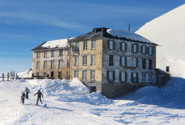 "Skiers take a break at the historic ""Refuge Guglielmina"" built in 1872 at an elevation of 7480ft which was destroyed in a fire December, 2011.  The refuge has never been rebuilt."