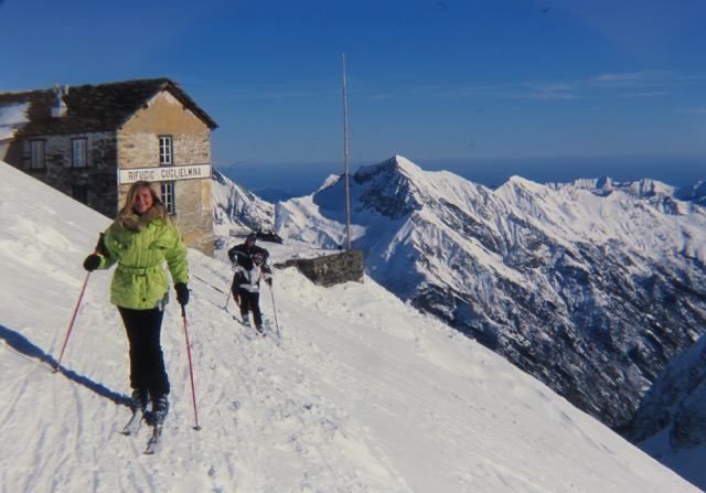 "Skiers leave the ""Refuge Guglielmina"" after lunch in the mountain hut in the Monte Rosa"