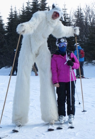 Skiing Mascot at LeMassif
