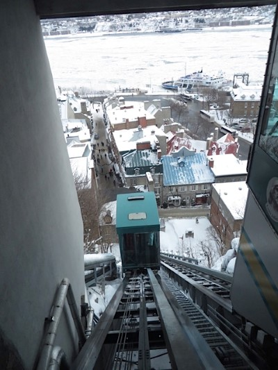 The Funicular descends to Old Quebec City.