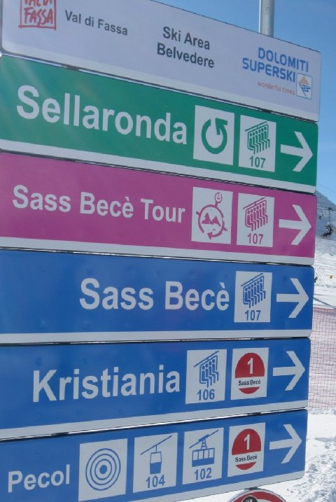 Sign directs skiers along the Sella Ronda tour with Green Signs indicating a counter clock route and red signs the clockwise route. Signs like these are located throughout the mountains on the tour