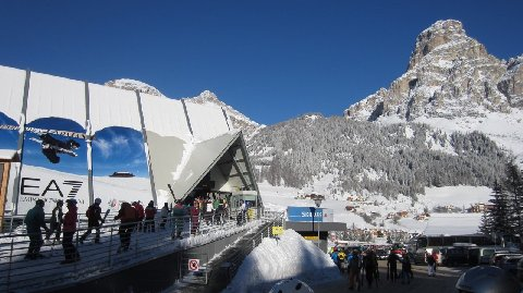 Lift station and mountain village in the Sella Ronda ski circle.