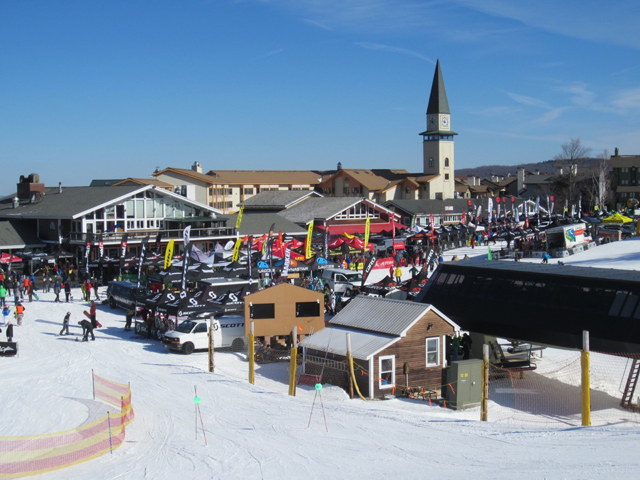 Stratton Mountain Ski Resort is transformed into a festive setting for the annual 2013 On-Snow ski and snowboard demo for ski shop retailers.