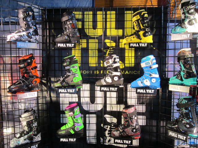 New Ski Boots on Display for the Ski Retailer.