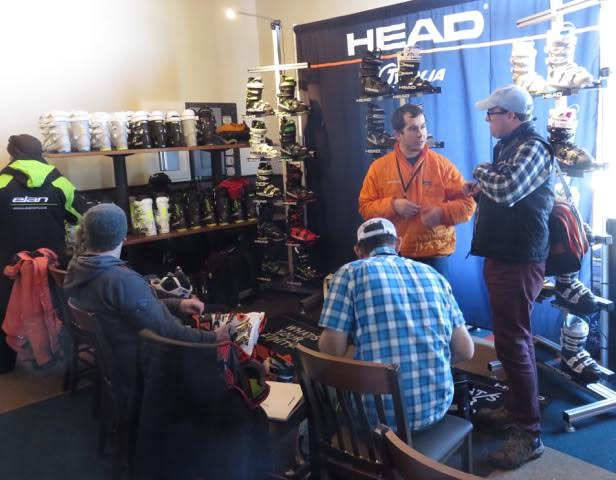 Ski Shop Sales people talk with factory boot reps about next years boots