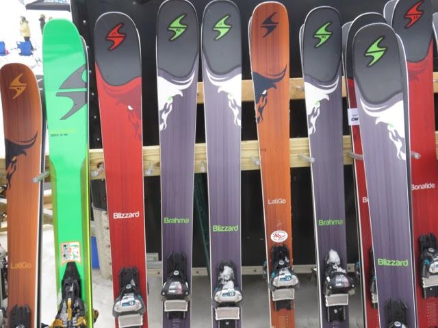 A variety of colorful skis and different models for next year