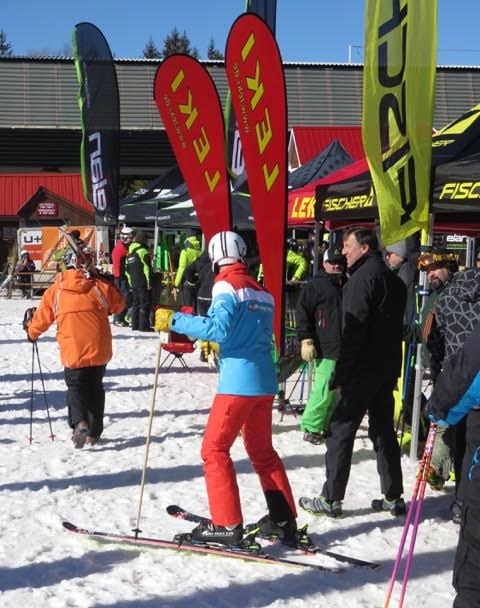 Ski Manufactures booths for shop owners and staffs to try products