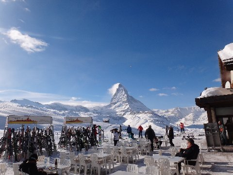 Matterhorn at lunchtime in Zermatt