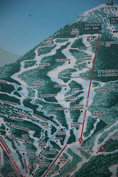 Trail Map showing Men's and Women's Downhills