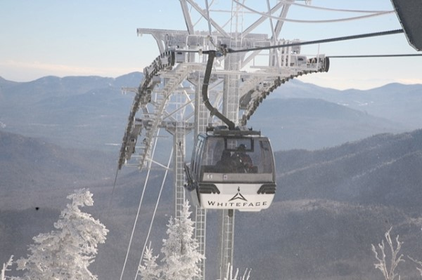 Gondola nears the summit of Little Whiteface Mt.