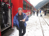 Zillertal ski train arriving Mayrhofen with happy skiers